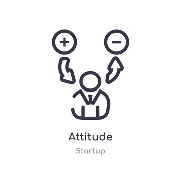 attitude outline icon. isolated line vector illustration from startup collection. editable thin stroke attitude icon on white background
