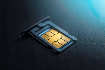 Sim card in tray close up