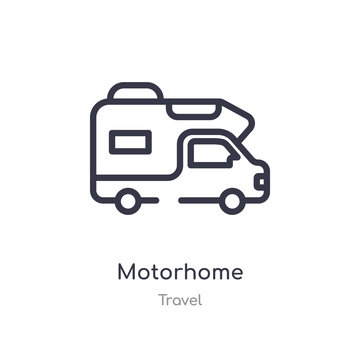 motorhome outline icon. isolated line vector illustration from travel collection. editable thin stroke motorhome icon on white background