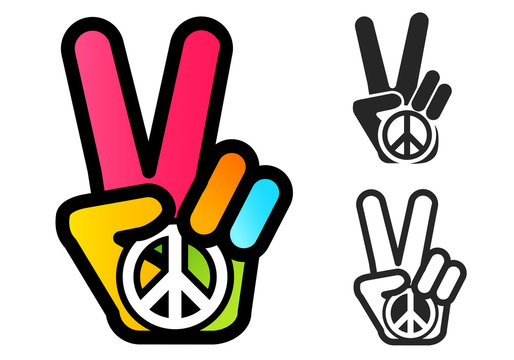 Hand and peace symbol