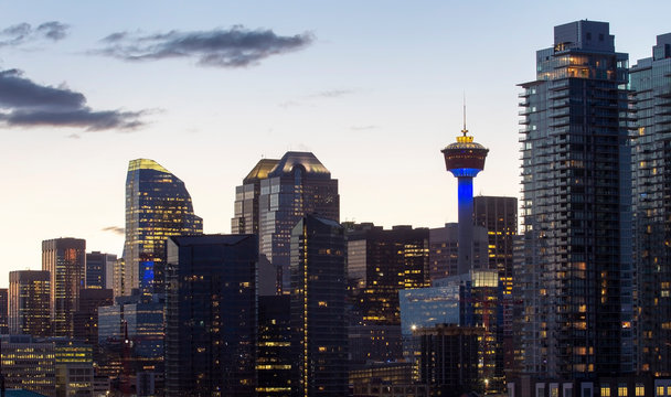 Downtown Calgary close up view with  Calgary Tower at sunset