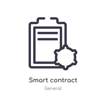 smart contract outline icon. isolated line vector illustration from general collection. editable thin stroke smart contract icon on white background