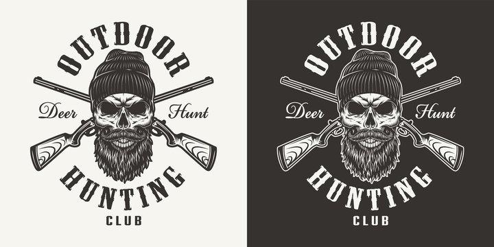 Vintage monochrome hunting club print
