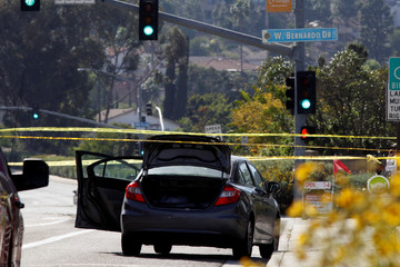 A car, allegedly used by the gunman who killed one at the Congregation Chabad synagogue in Poway, is pictured, few hundred feet from the Interstate 15 off-ramp north of San Diego