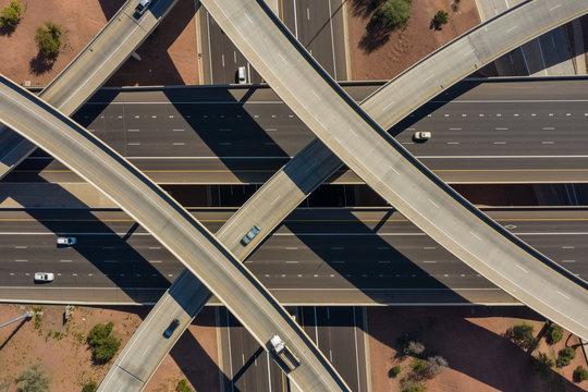 Overhead view of highway interchange