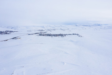 Aerial photo Evanston Wyoming in winter snow