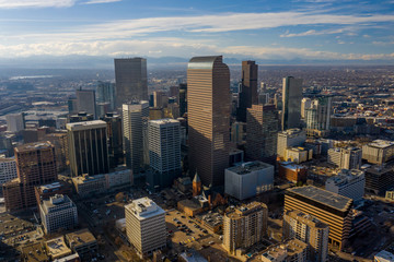 Aerial photo Downtown Denver CO and State Capitol area city landscape