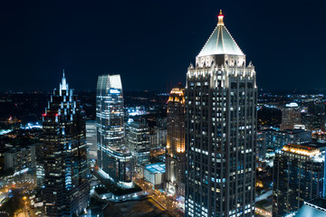 Aerial drone photo Downtown Atlanta GA at night