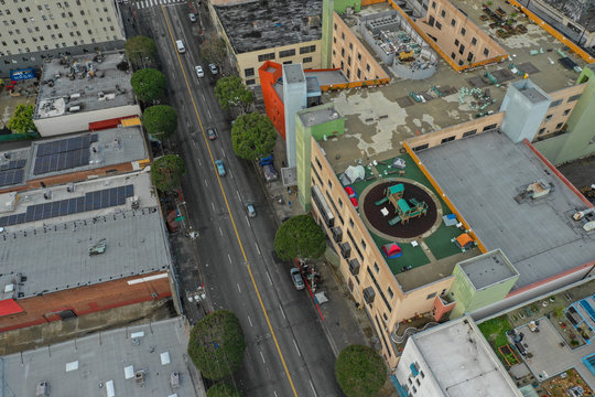 Aerial photo Skid Row Los Angeles CA