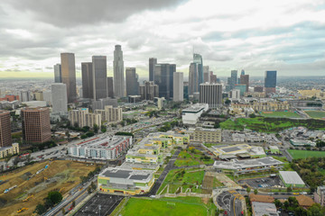 Aerial photo Downtown Los Angeles CA Wall mural