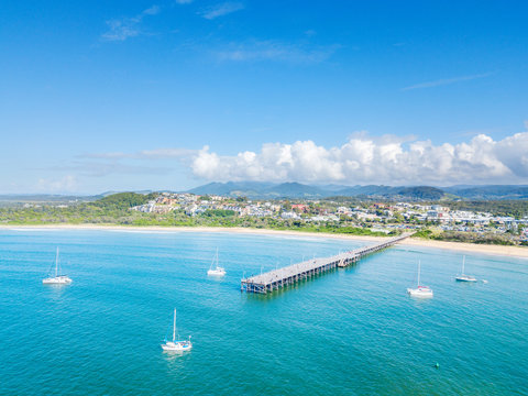 An aerial view of Coffs Harbour beach and harbour