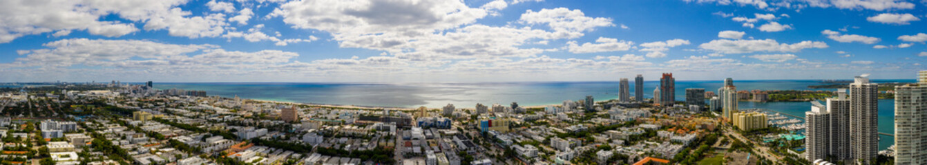 Wall Mural - Aerial colorful summer panorama Miami Beach FL image