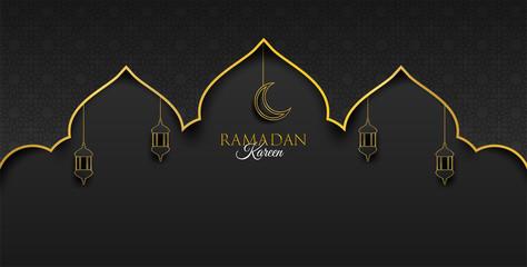 Ramadan Kareem ,Ramadan mubarak background. Design with  moon,  lantern on gold, black background. paper art style. Vector.