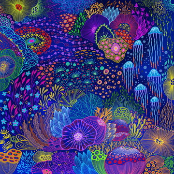 Under the Sea with coral concept design with ecosystem bursting illustration doodle neon colorful  painting style background