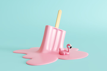 Pink stick ice cream melting with flamingo float on pastel blue background. Creative idea minimal summer concept. 3d rendering Wall mural