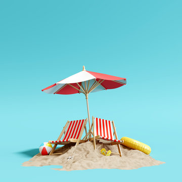 Beach umbrella with chairs and sand on pastel blue background. summer vacation concept. 3d rendering