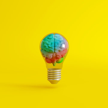 Colorful brain with a lightbulb on yellow background. Creative idea concept. 3d rendering