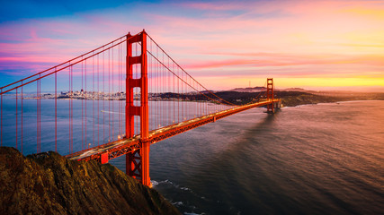 Wall Murals Bridges The Golden Gate Bridge at Sunset, San Francisco , CA