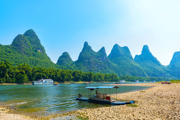 Landscape, the lijiang river, guilin karst mountainous area.The landscape of near guilin, yangshuo county, guangxi, China