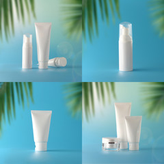 Set of cosmetic sun block on color background. Cosmetic package for natural beauty blank label branding mock-up. Summer holiday concept.