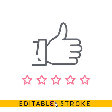 Review like Icon. Easy editable stroke line vector.