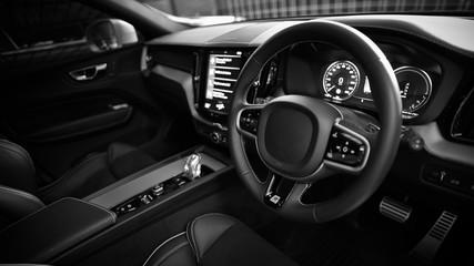 Car Steering Wheel Blurred Background