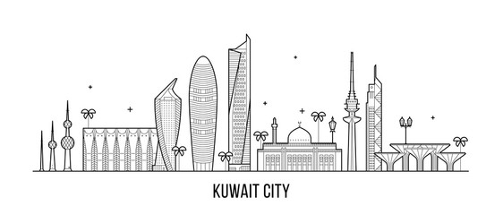 Wall Mural - Kuwait city skyline vector linear style buildings