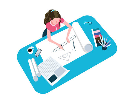 Woman drawing, sketching flat vector illustration. Female architect drafting project, working from home