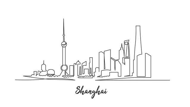Shanghai architecture continuous one line vector drawing. Cityscape with skyscrapers hand drawn