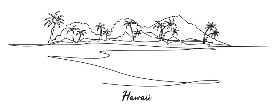 Hawaii landscape continuous one line drawing. Mountains, palms, seaside