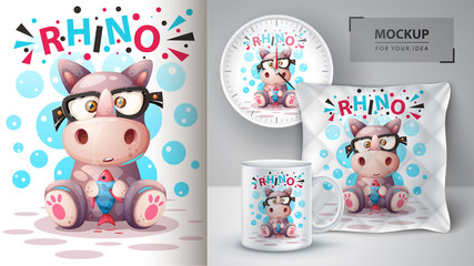 Cute rhino with fish- mockup for your idea