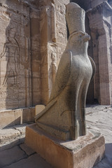 Edfu, Egypt: Statue of Horus at the temple of Edfu, the the largest temple dedicated to Horus and Hathor of Dendera.