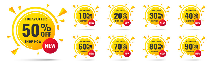 Sale tags set vector badges template, 10 off,