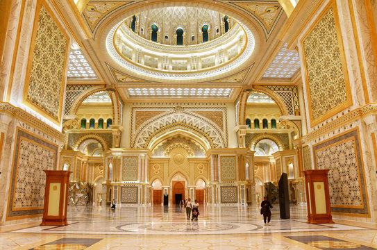 Abu Dhabi, United Arab Emirates, March, 19, 2019. Presidential Palace, Palace of Qasr al-Watan (the Palace of the nation) inside in Abu Dhabi city in Arab Emirates