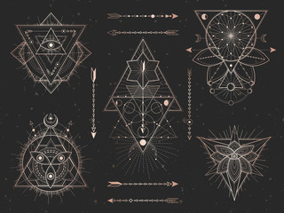 Obraz Vector set of Sacred triangle symbols and mystic figures on black grunge background. Gold abstract signs collection. - fototapety do salonu