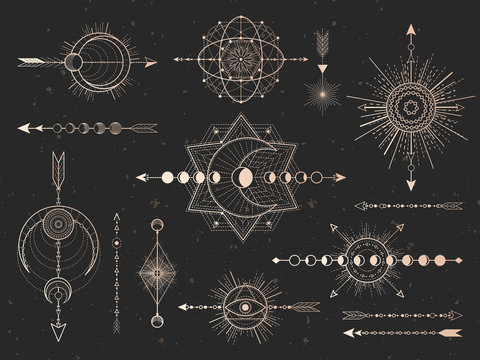 Vector set of Sacred symbols arrows, moon and eye on black grunge background. Gold abstract mystic signs collection.