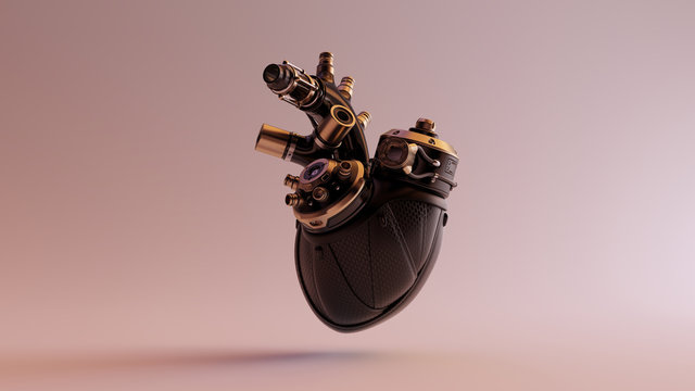 Black Artificial Cyborg Heart With Gold Fittings and Rubber Tubes 3d illustration 3d render