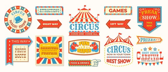 Circus labels. Carnival retro banner signs, vintage magic frames and arrows elements, welcome the show greetings. Vector circus signs logo collection Fototapete