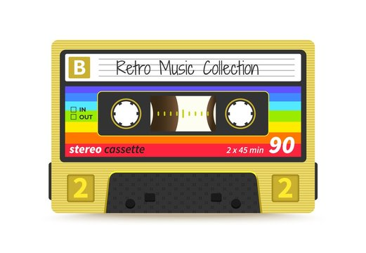 Retro cassette. Vintage 1980s mix tape, stereo sound record technology, old school dj rave party. Vector audio tape label design
