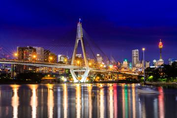Anzac Bridge by night, Sydney, Australia