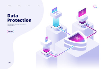 Data protection concept. Digital security channel money protect secure access internet safety privacy software vector landing page. Illustration of security technology isometric, web safety protect