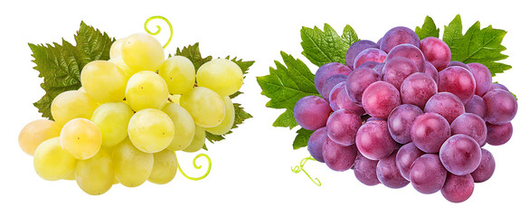 Fresh grapes isolated on white background with clipping pass Fototapete