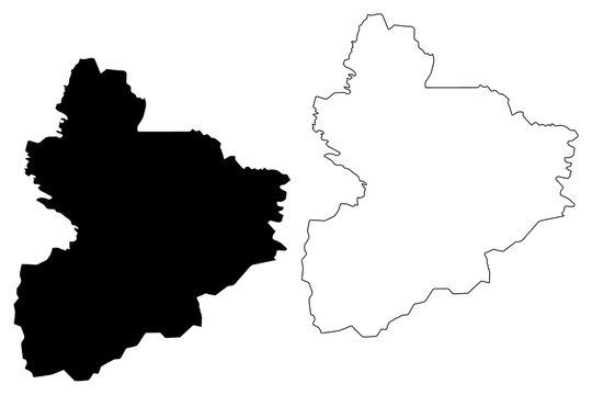 Vallee du Bandama District (Ivory Coast, Republic of Cote dIvoire) map vector illustration, scribble sketch Vallee du Bandama map