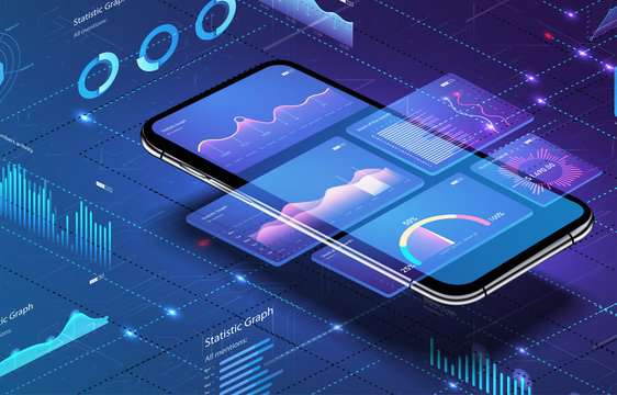 Modern flat vector illustration concept application of smartphone with business graph and analytics data on isometric mobile phone. Analysis trends and financial strategy by using infographic chart.