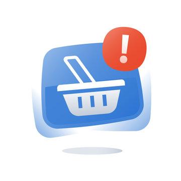 Online shopping button, shop basket, abandoned cart, marketing and promotion, limited offer, loyalty program, sales improvement