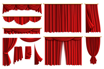 Red curtains. Set realistic luxury curtain cornice decor domestic fabric interior drapery textile lambrequin, vector illustration