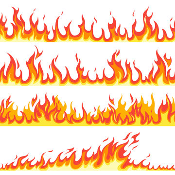 Seamless fire flame. Fires flaming pattern, flammable line blaze hot temperature, gas blazing wallpaper cartoon vector textured frames