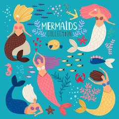 Mermaids set. Mermaid princess, ocean girl scrapbook elements, bikini summertime swimming pretty sirens with fish tail vector illustration