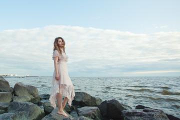 Printed kitchen splashbacks Artist KB Portrait of stylish woman on ocean coast, romantic beauty