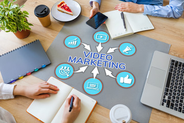 Video Marketing Advertising Business Internet and technology concept on office desktop.